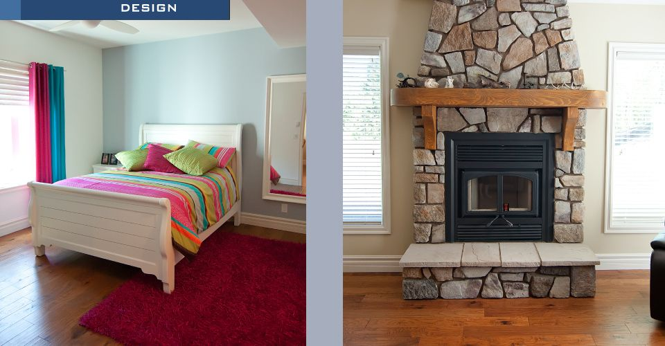bedroom and fireplace
